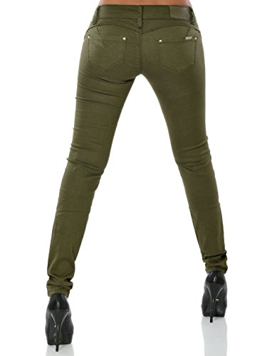 Damen Skinny Jeans Hose Push-up DA 15837 Khaki XS / 34 -