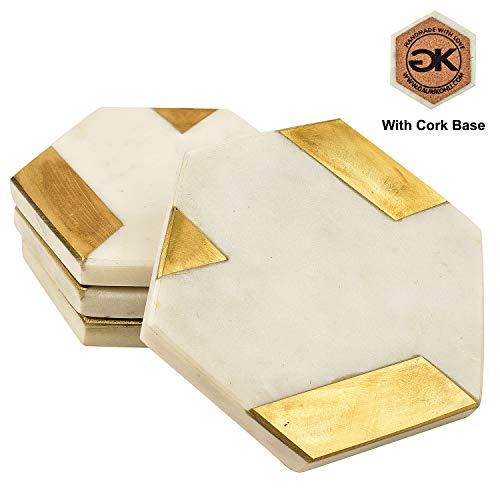 GAURI KOHLI: Premium Makrana weiß Sechseck-Marmor-Untersetzer Verziert mit goldfarbenem Rand (Set von 4 Stück)