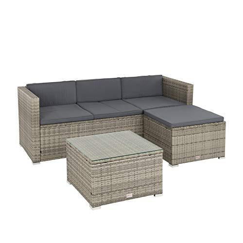 ESTEXO Rattan Lounge 3 Sitzer Sofa Mit Hocker Und Tisch Glasplatte Grau Meliert