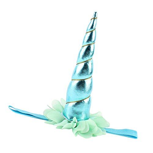 Einhorn Kostüm Kinder Blau - Prettyia Glänzendes Einhorn Horn Stirnband Elastische