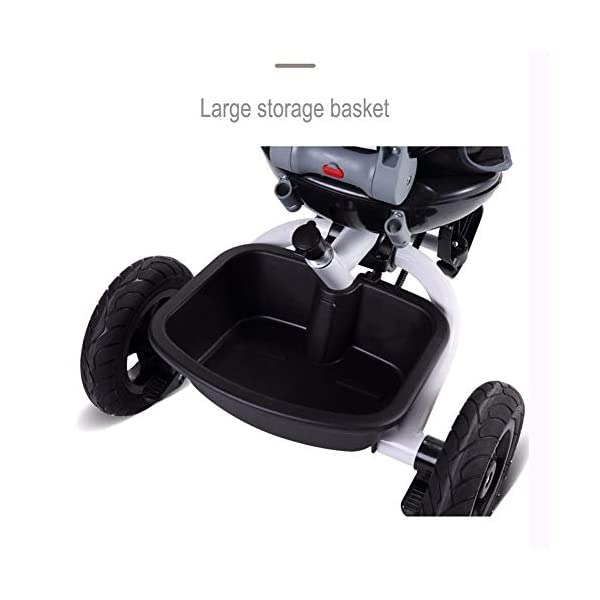 GSDZSY - Foldable Children Tricycle, Push Rod Adjusts Height And Control Direction, Seat Adjustable And Rotating, Baby Can Sit Or Half Lying,1-6 Years Old GSDZSY ❀ Material: High carbon steel + ABS + rubber wheel, suitable for children from 6 months to 6 years old, maximum load 30 kg ❀ Features: The push rod can be adjusted in height, the seat can be rotated 360, the backrest can be adjusted, the baby can sit or recline; the adjustable umbrella can be used for different weather conditions ❀ Performance: high carbon steel frame, strong and strong bearing capacity; non-inflatable rubber wheel, suitable for all kinds of road conditions, good shock absorption, seat with breathable fabric, baby ride more comfortable 8