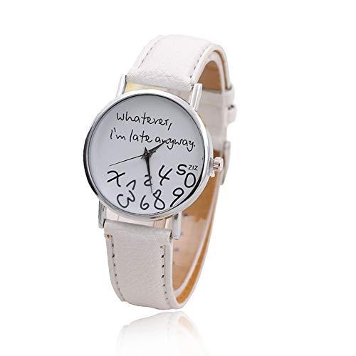 1 x Orologio da polso al quarzo, analogico, casual, alla moda, da uomo/donna, ultra sottile, elegante, scritta: Whatever I'm late anyway (lingua inglese)