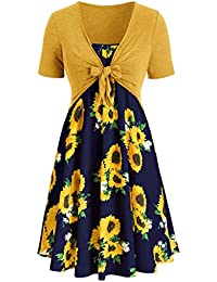f89f659f9fc Daylin Fashion Women Dress Daily Short Sleeve Bow Knot Bandage Top Party  Sunflower Print Mini Suits