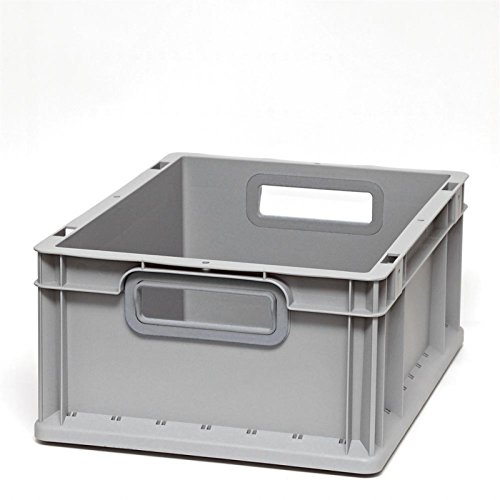 Euroboxen Eurokasten Eurobehälter offener Griff 400 x 300 x 170 mm - Griffmulde grau - Eurokisten Eurobox Lagerbox Lagerboxen Lagerkiste Lagerkisten