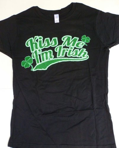 Loud Clothing-Kiss me I´m irish T-Shirt (BKL, XL, Female) (Im Irish T-shirt)