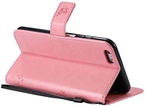 Apple iPhone 6Plus/6S Plus Custodia in pelle Flip Wallet Cover Case, Nnopbeclik Folio PU Leather Lusso Colorato Fiore Custodia Case Cellulare imprinting Albero del Gatto del fiore della farfalla cris Pink
