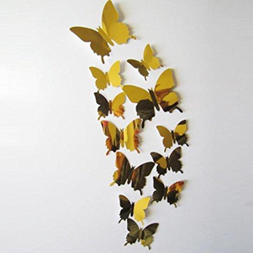 Huhu833 12PC Wandtattoos Aufkleber Schmetterlinge 3D Spiegel Wandkunst Home Dekore (Gold) -