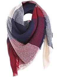 49c6b63f8811 Tefamore Femmes Echarpe foulards longue de cou de châle de laine de  cachemire de point coloré