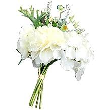 Flores Artificiales,Xinan Flor de Seda Decoración para Hogar Boda (Blanco)