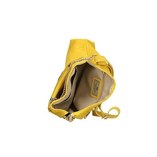 Chicca Borse Borsa a tracolla in pelle 29x17x8 100% Genuine Leather Giallo