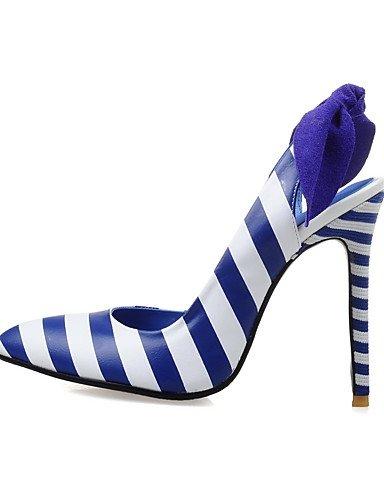 WSS 2016 Chaussures Femme-Habillé / Décontracté / Soirée & Evénement-Bleu / Beige-Talon Aiguille-Talons / Bout Pointu-Talons-Cuir / Poils blue-us8.5 / eu39 / uk6.5 / cn40