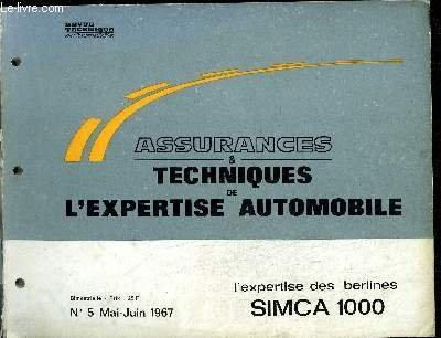 ASSURANCES TECHNIQUES DE L'EXPERTISE AUTOMOBILE N°5 - MAI-JUIN 1967 - L'EXPERTISE DES BERLINES SIMCA 1000 par CAZAUX M./ COLLECTIF