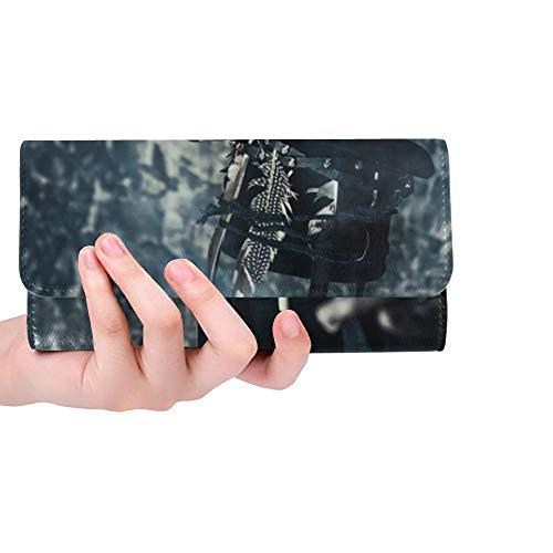 Einzigartige benutzerdefinierte Closeup Portrait Mann schädel Make-up gekleidet Frauen Trifold Wallet Lange geldbörse kreditkarteninhaber case Handtasche