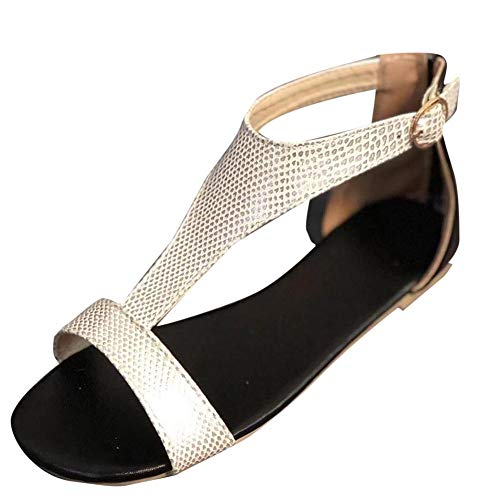 Donne Sandali T Bar Estate Scarpe Casual Traspirante Outdoor Beach Flats Scivolare su Open Toe Roma Scarpe