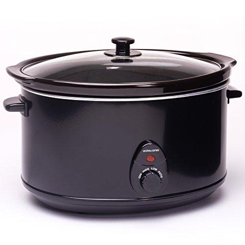 Andrew James Premium Slow Cooker | 8 Liter Schongarer | Hartglasdeckel und Abnehmbarer Keramik-Innentopf | Ideal zum Kochen von bis zu 25 Mittelgroße Portionen Slow Cooker-Rezepte | 3 Temperatureinstellungen | Schwarz | 380W