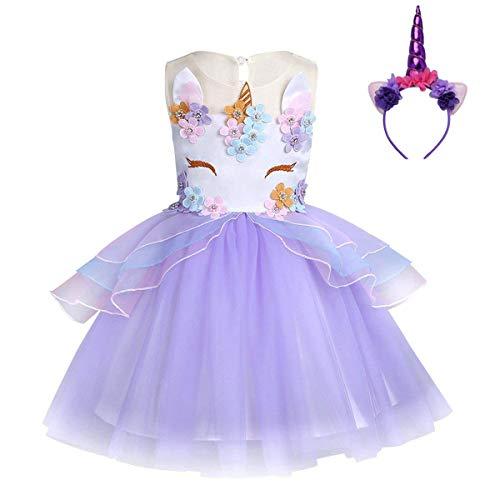 FONLAM Vestido de Fiesta Princesa Niña Bebé Disfraz de Unicornio Ceremonia Cumpleaños...