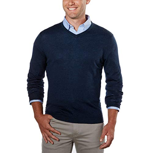 Calvin Klein Herren Merino Pullover V-Neck Stripes - blau - Mittel -