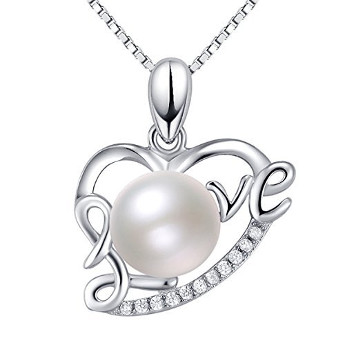 B.Z La Vie Collier Femme Perle d eau Douce Pendentif Coeur Love Argent Fin  925 086c18c8fc78