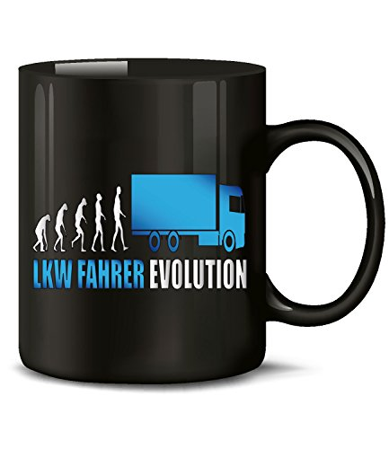 Golebros Trucker LKW Fahrer Evolution 2009 Fun Tasse Becher Kaffeetasse Kaffeebecher Schwarz-Blau