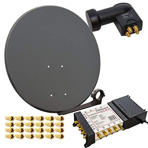 HD Digital Sat Anlage 80cm Schüssel Spiegel Antenne Stahl Anthrazit + PremiumX Multischalter 5/8 Multiswitch Matrix 5-8 mit Netzteil für 8 Teilnehmer + PremiumX Quattro LNB + 24 F-Stecker vergoldet Switch Sat Digital FULL HD 3D UltraHD