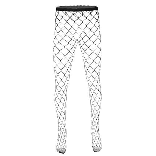 dPois Herren Netzstrümpfe Strumpfhose Nahtlos Fischnetz Leggings aus Nylon Durchsichtige Strümpfe Elastisch Reizvoll Schwarz Schwarz Typ_C -