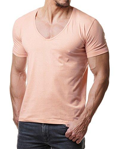 Young & Rich Herren T-Shirt V-Neck Body Fit Schwarz Weiß Rot Blau RRTS 1315 Stone Pink