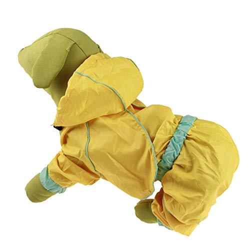 XCXDX Heller Farbwelpenregenmantel, Wasserdichte Kapuzenjacke Für Hund, Ganzkörper, Geeignet Für Satsuma, Teddy Yellow ()