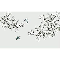 Papier Peint 3D Mur De Fond Tv 430cmX300cm Salon Chambre Moderne Papier Peint Intissé Décoration Murale Croquis Dessinés À La Main Élégantes Fleurs Et Oiseaux En Noir Et Blanc Wallpaper