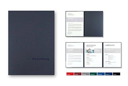 5 Stück 3-teilige Bewerbungsmappen BL-exclusivdruck OPTIMA-plus in Marineblau - Premium-Qualität mit edler Relief-Prägung 'Bewerbung' - Produkt-Design von 'Mario Lemani' -