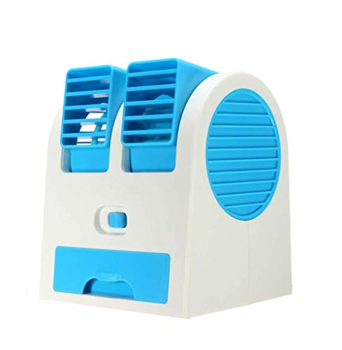 Atman Mini Fan USB and Battery Powered Mini Portable Dual Blower Desk Table Air Cooler Fan Portable Dual Bladeless