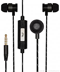 Premium 3.5mm In Ear Bud Handsfree Headset Earphones With Mic Compatible For Reliance Jio LYF Flame 5 -Black