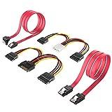 Inateck 2X SATA 3 Kabel 0,48m & 4pin ATX zu 2X 15pin SATA Stromadapter + 15pin SATA zu 2X 15pin SATA Stromkabel - je 0,16m, Strom- und Datenkabel, Stecker gerade zu Stecker gerade, Gelb/Rot