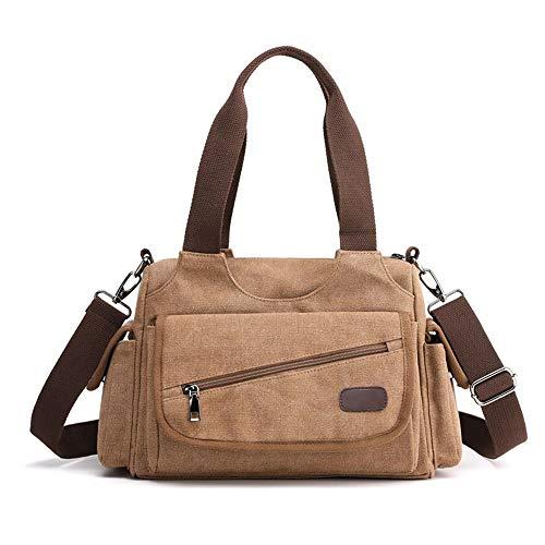 Damen Handtasche, Womens Canvas große Shopping Hobo Schulter Crossbody Messenger Bag Casual Tote Handtasche Satchel Top Griff Handtasche Elegant Tasche Damen Schule Handtasche ( Farbe : Braun )