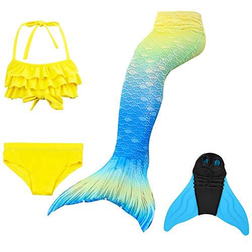 GNFUN Mädchen Meerjungfrauenschwanz Zum Schwimmen mit Meerjungfrau Flosse- Prinzessin Cosplay Bademode für das Schwimmen mit Bikini Set und Monoflosse, 4 Stück Set