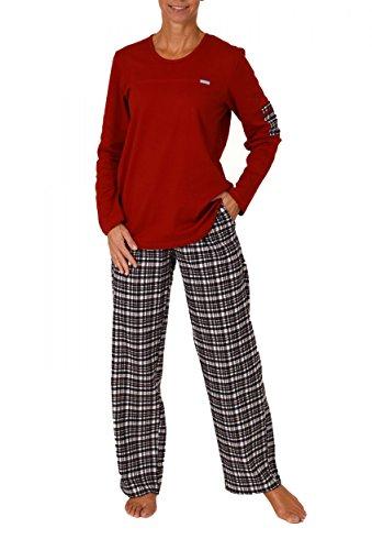 Damen Pyjama lang Mix & Match - karierte Flanellhose und Interlock Oberteil 201 96 002, Größe:40/42;Farbe:rot