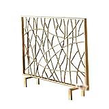 Schermo del camino Soggiorno European Real Fuoco Fuoco recinzione in ferro battuto schermo a cornice di ripartizione Camino Cover Gold Con Net