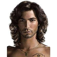 MXZ Pelucas para Hombres, Síntesis Cabello Rizado Corto Marrón Natural Rose Net Resistir El Calor