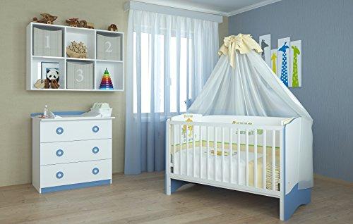 Polini Kids Babyzimmer Kinderzimmer Kombikinderbett mit Wickelkommode