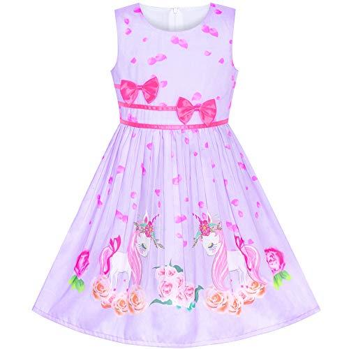 Sunny Fashion Vestito Bambina Viola Unicorno Fiore Estate Sole 11-12 Anni