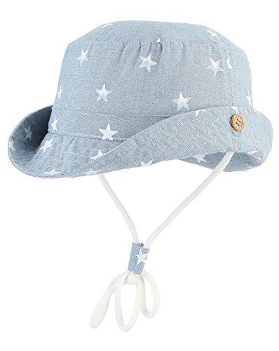 Cloud Kids Unisex Sonnenhut Fischerhut Kinder Baby Stern Sommerhut UV Schutz, Kopfumfang 48cm (Herstellergröße 50), Blau