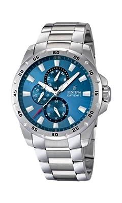 Festina F16662/2 - Reloj analógico de cuarzo para hombre con correa de acero inoxidable, color plateado de Festina