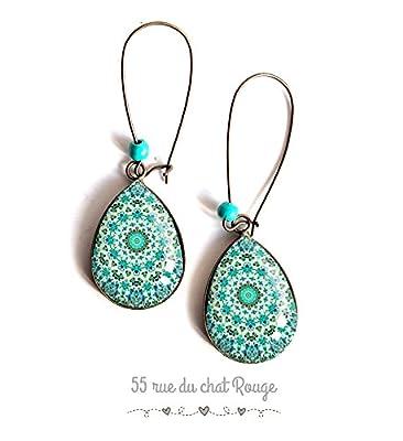 Boucles d'oreilles bijou cabochon gouttes, mantra, mandala turquoise, Zen