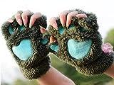 ZHANGYUGEGE Winter schöne Frauen Damen Cat Claw Paw Nerz Plüsch Handschuh Kostüm niedliche Halbe Finger Weiche warme Mode Frauen Paw Handschuhe, Army Green