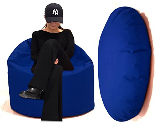 Sitzbag Sitzsack 2 in 1 XL-XXL-XXXL mit Füllung - In&Outdoor - Bean Bag Sitzkissen Bodenkissen Hocker Kinder Sitzsäcke Möbel Kissen Sessel Sofa (XL = ca.125cm Rund Durchmesser, Royalblau/Königsblau)