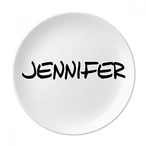 DIYthinker Spezielle Handschrift Englischer Name Jennifer Dekorative Porzellan Dessertteller 8-Zoll-Dinner Home Geschenk 21cm Diameter Mehrfarbig 10