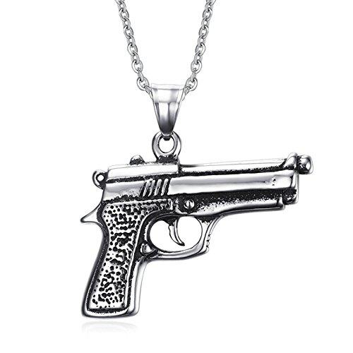 Adisaer Hombres Collar Joyería de Moda Acero Inoxidable 3X4.2CM Plata Pistola Colgante Collar