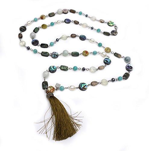 Acciaio lunga collana: Quarzo-Actinolite, Jade, Amazzonite, Ametista,