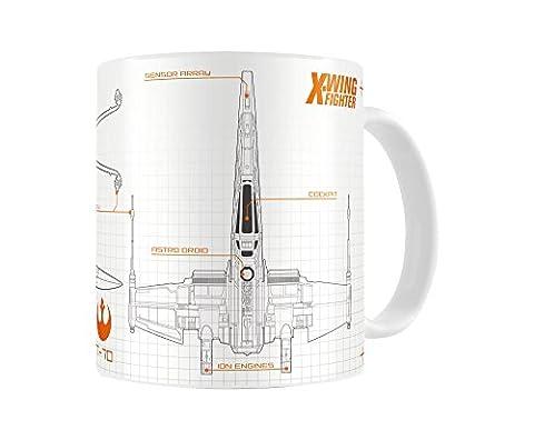 SD Toys SDTSDT89006 Tasse en céramique à motif de Star Wars épisode 7 X-Wing Blueprint Blanc/orange