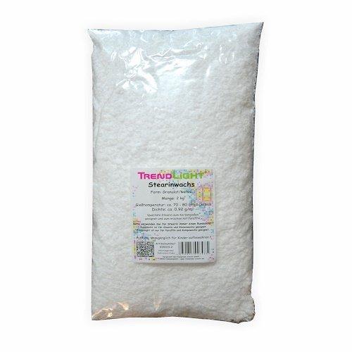 TrendLight 890019-2 Stearin rein pflanzlich zum Kerzen herstellen, 2 kg, weiß