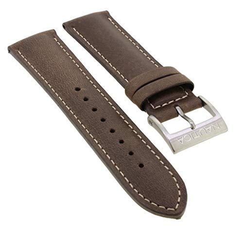 Nautica Ersatzband 22mm | Uhrenarmband aus Leder in braun mit Schließe silberfarben | NAI17505G